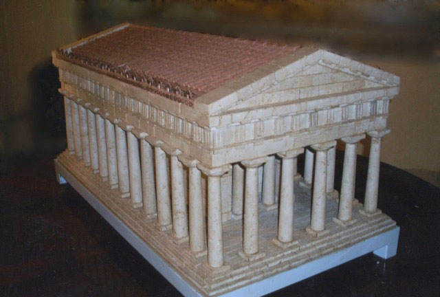 Italian Workshop - 19th century - The Temple of Segesta - Travertine and terracotta