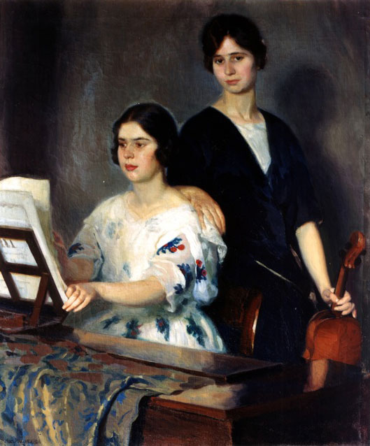Jean-Marcel Poussard - -1920 - Portrait of two Musicians - Canvas