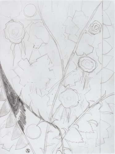 Natalia Sergeevna Goncharova - (1881-1962) - Study for a Still Life - Pencil on paper