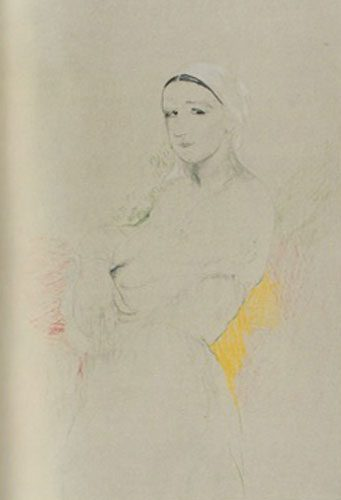 Philip Andreevich Maliavin - (1869-1940) - Portrait of a Peasant Woman - Pencil and crayon on paper