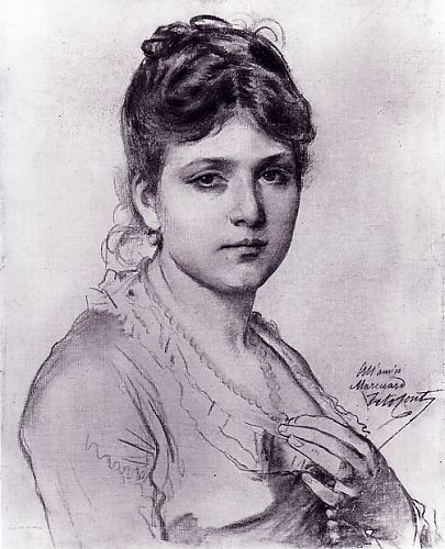 Tito Conti - (1842-1924) - Portrait of a Young Lady - 72 x 60 cm.