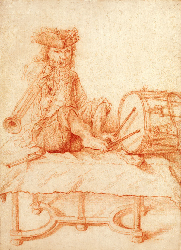 A Disabled Musician seated on a Table, playing a Trumpet, and holding Drumsticks with his Feet